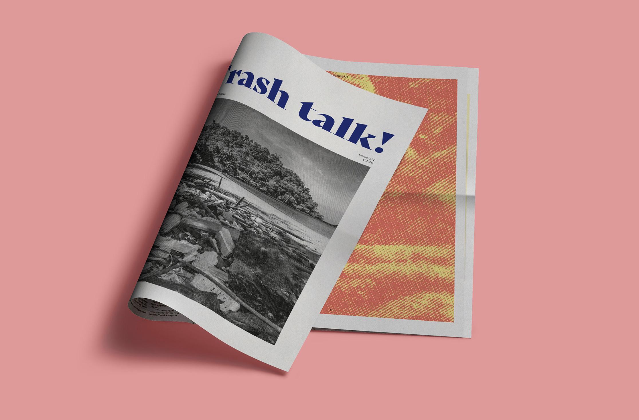 mock-up of newspaper publication cover design