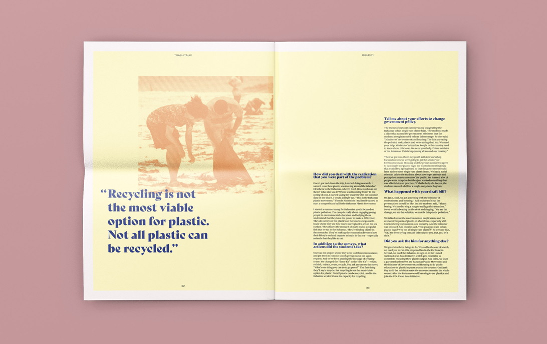mock-up of newspaper publication spread featuring duotoned photograph of people picking up plastic on a beach