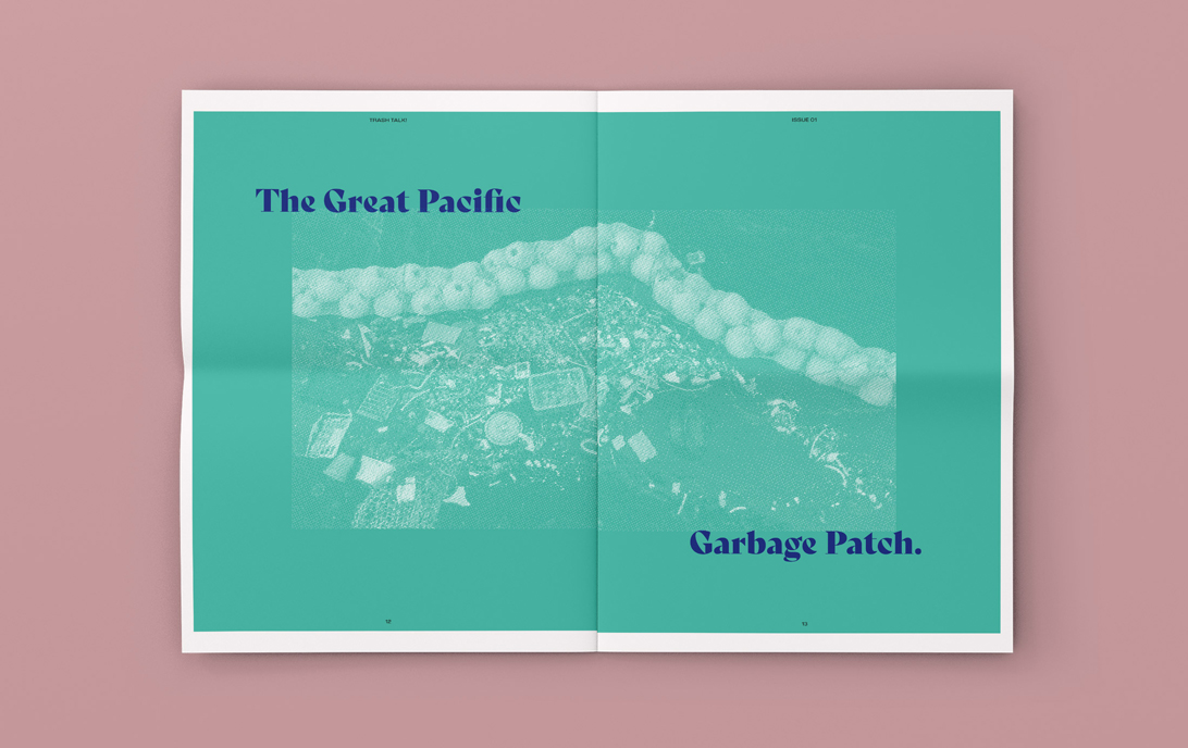 mock-up of newspaper publication spread featuring duotoned photograph of micro-plastics on a beach
