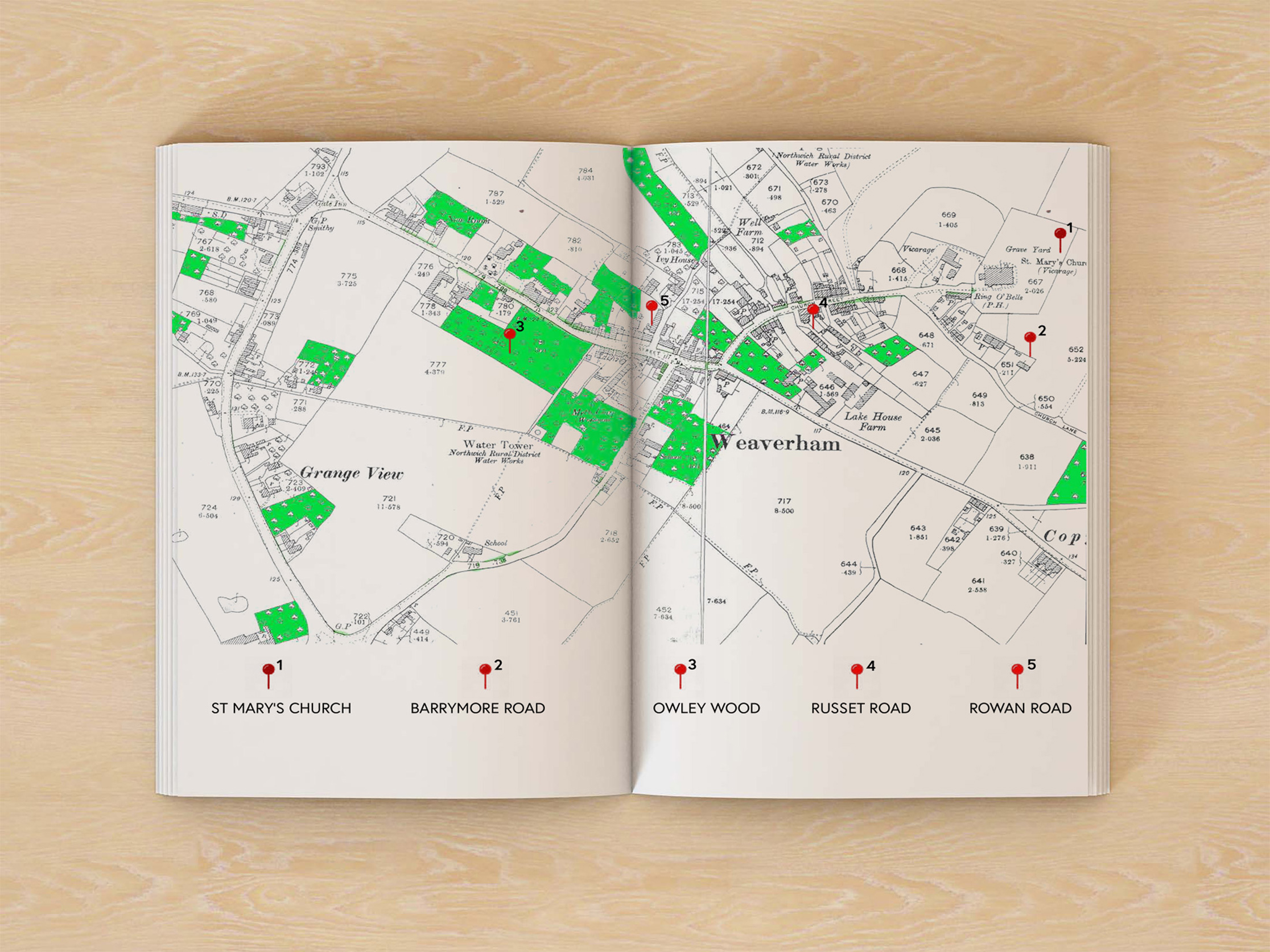 mock-up of publication spread showing map of Weaverham