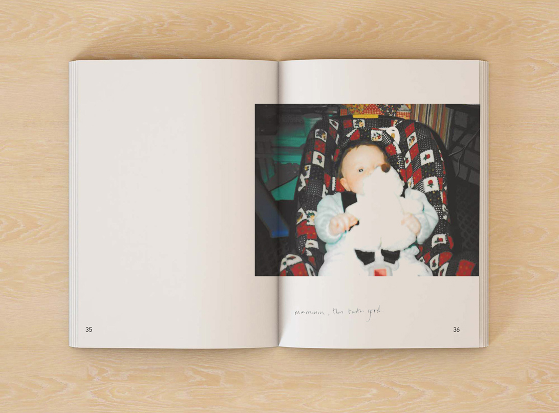 mock-up of publication spread featuring a photograph of a baby