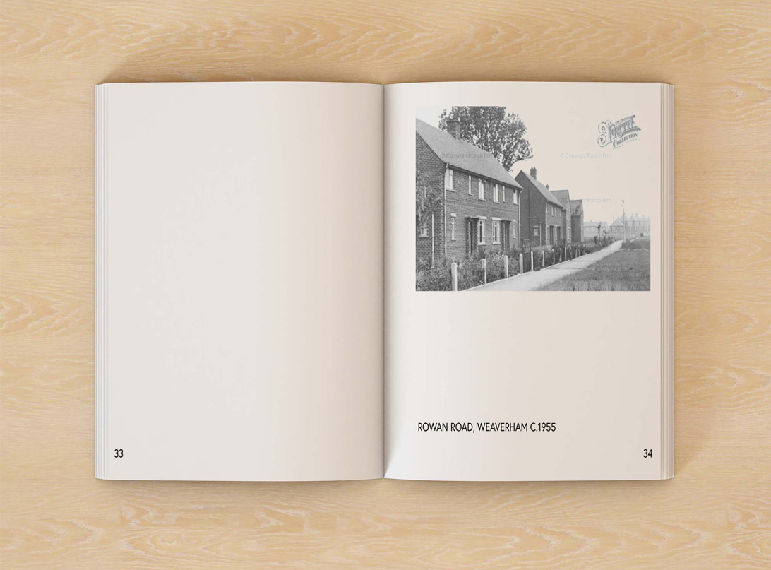 mock-up of publication spread featuring an old photograph of Weaverham