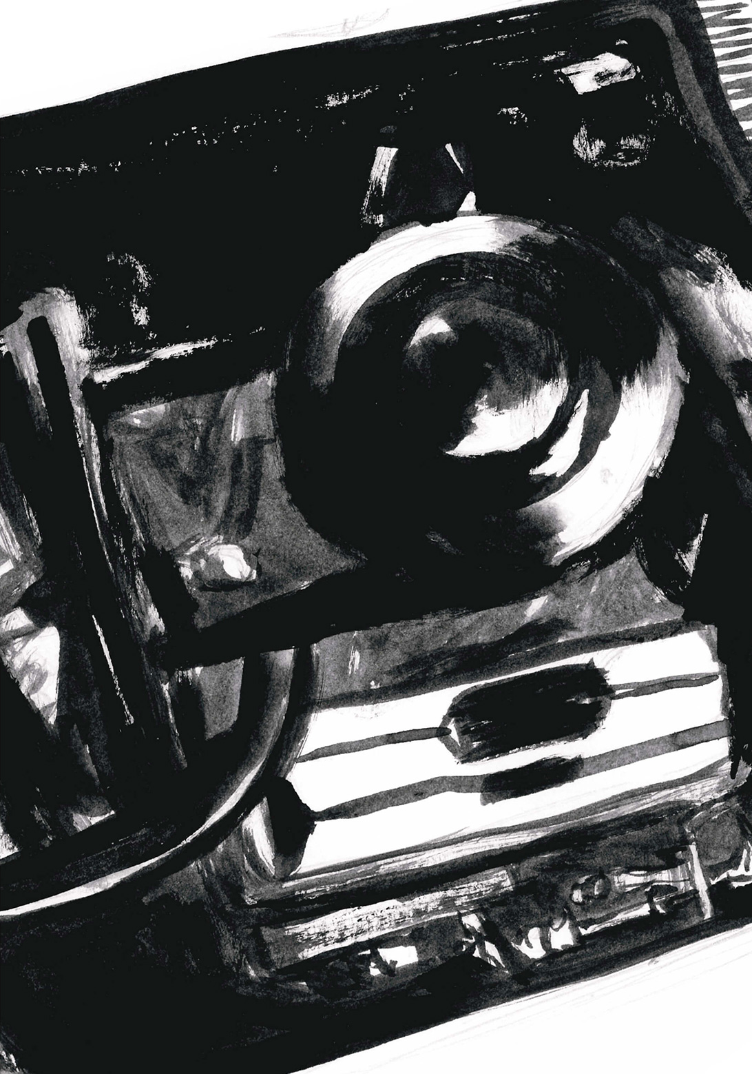 black and white ink drawing of a close-up of a car engine