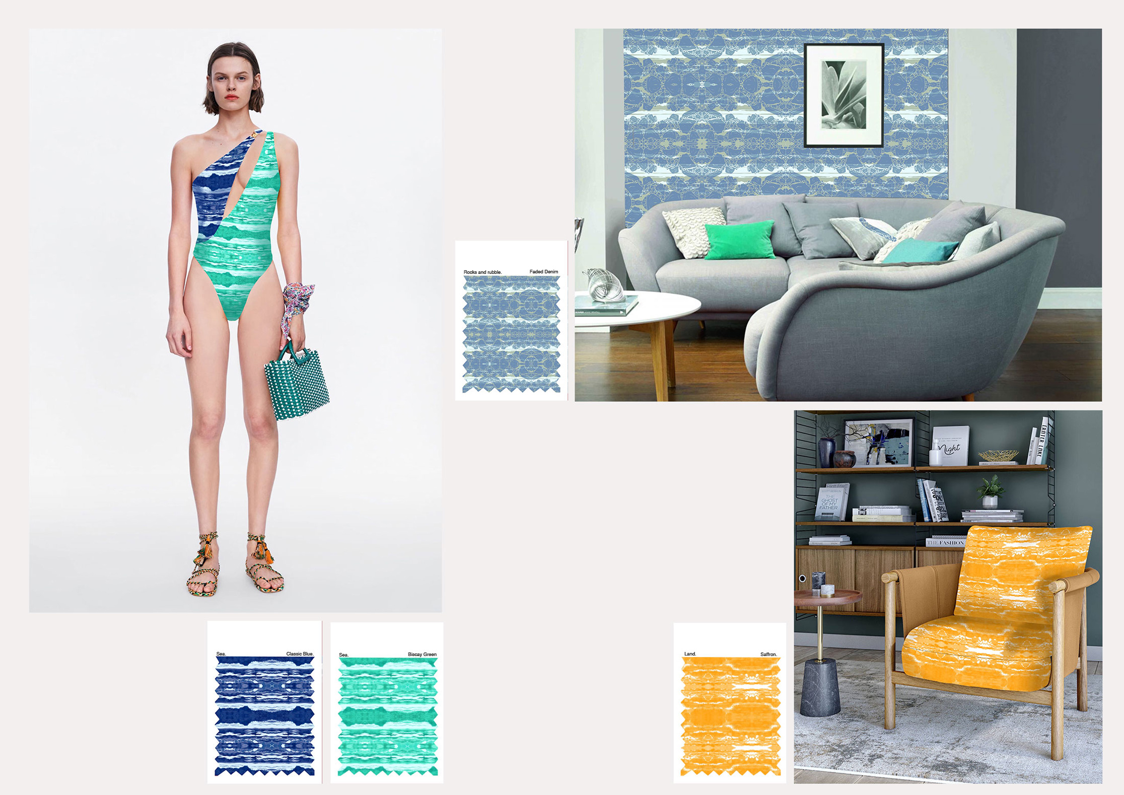 mock-up of pattern based graphics applied across swim wear, wallpaper and soft furnishings