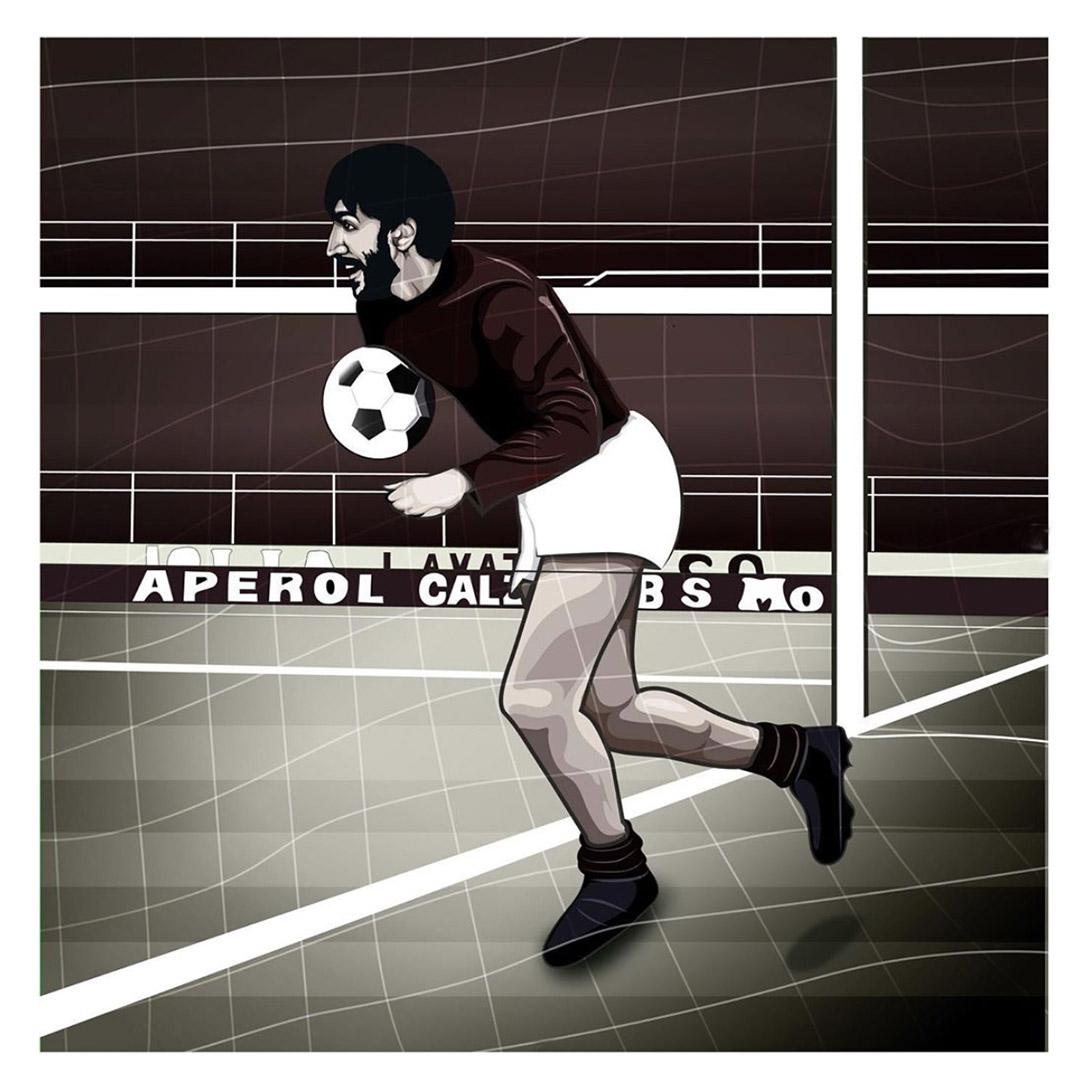illustration of footballer Luigi Gigi Meroni