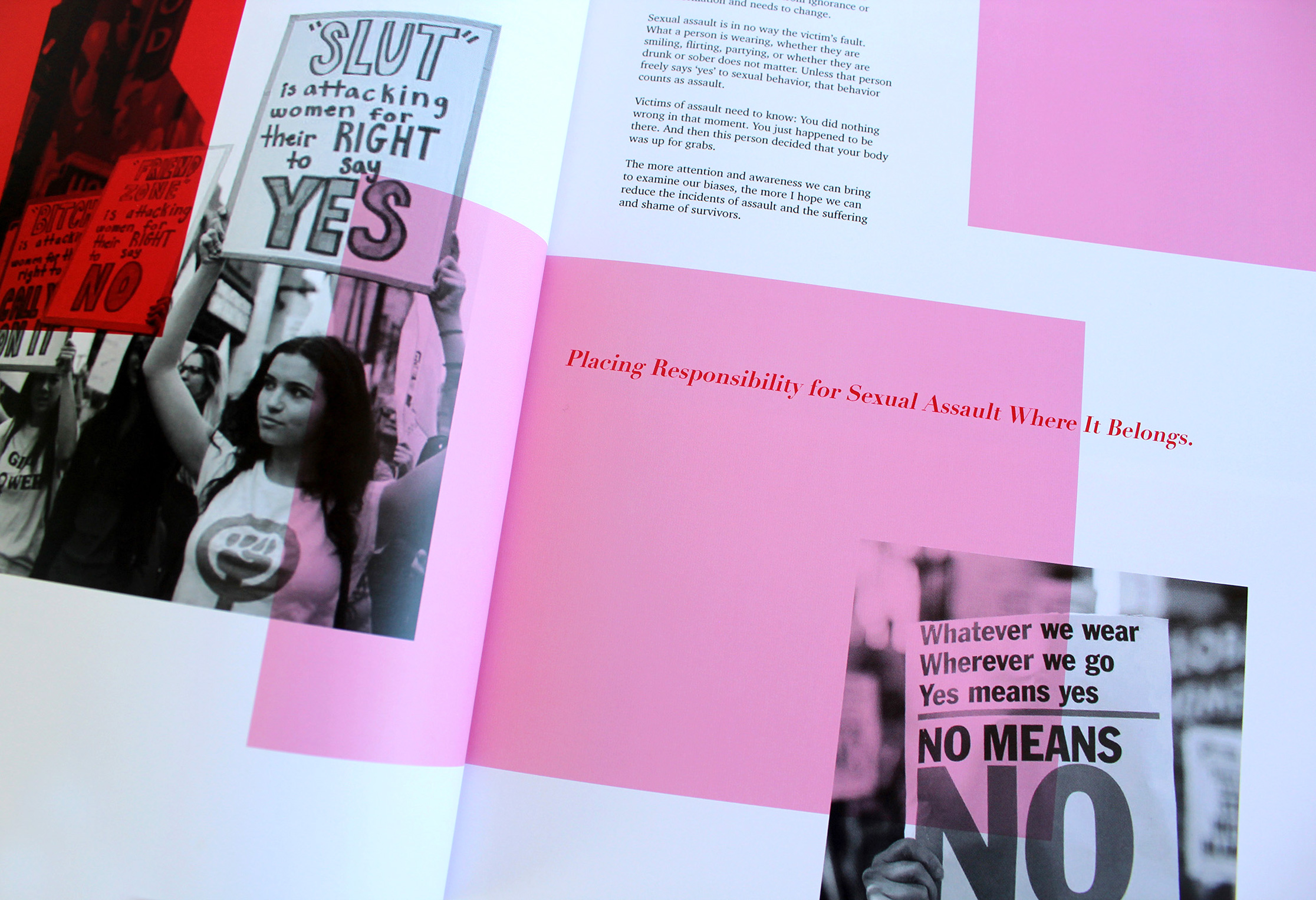 photograph of publication spread featuring type and overplayed black and white images