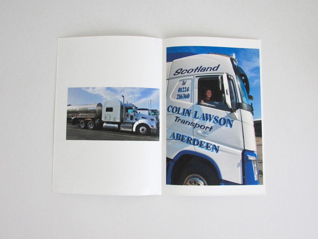 publication spread featuring photographs of trucks