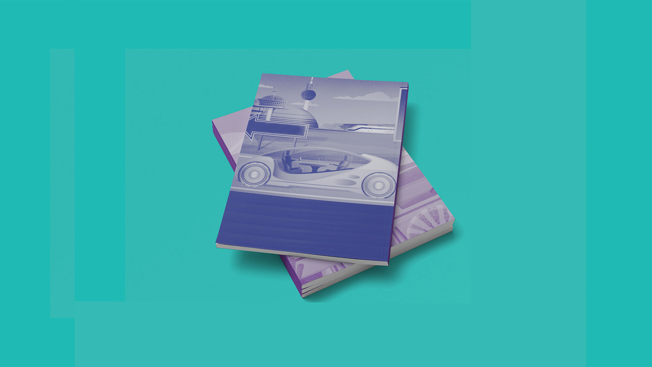 publication cover designs featuring an illustration of  a futuristic car
