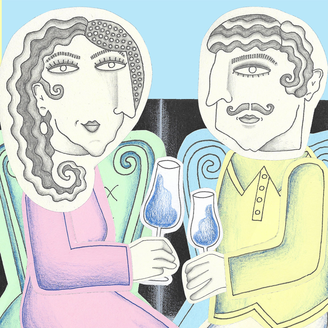 illustration of a couple drinking