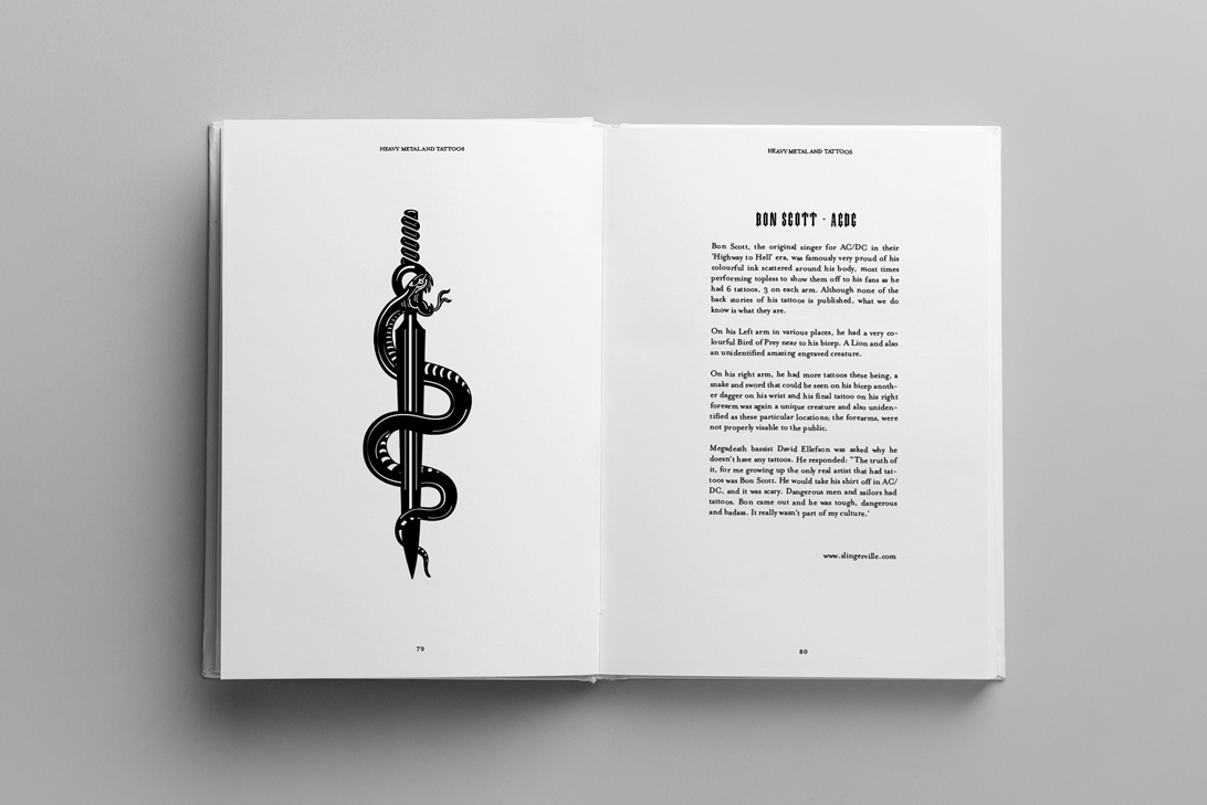 publication spread featuring tattoo art
