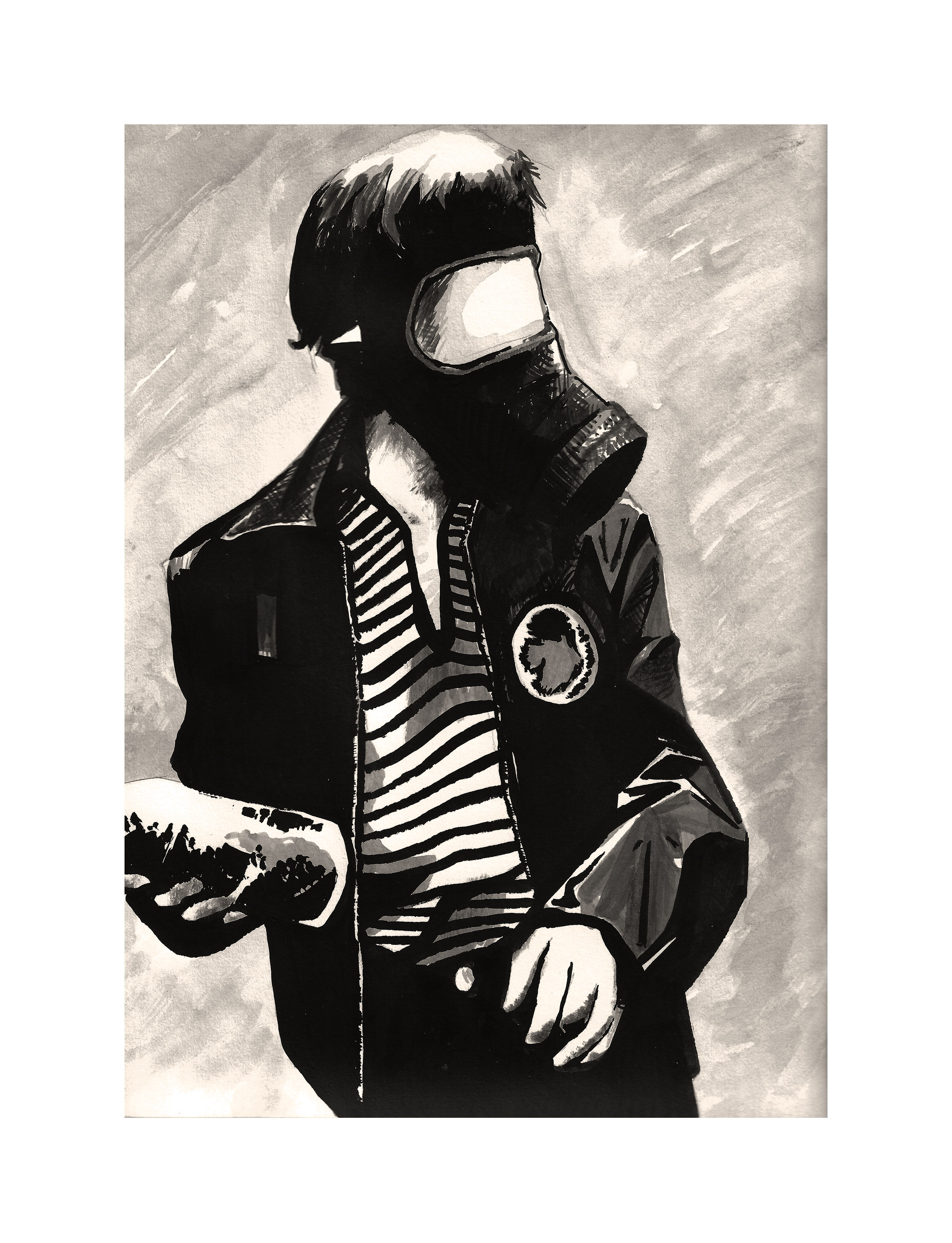 artwork of thirteen year old Patrick Coyle holding a petrol bomb