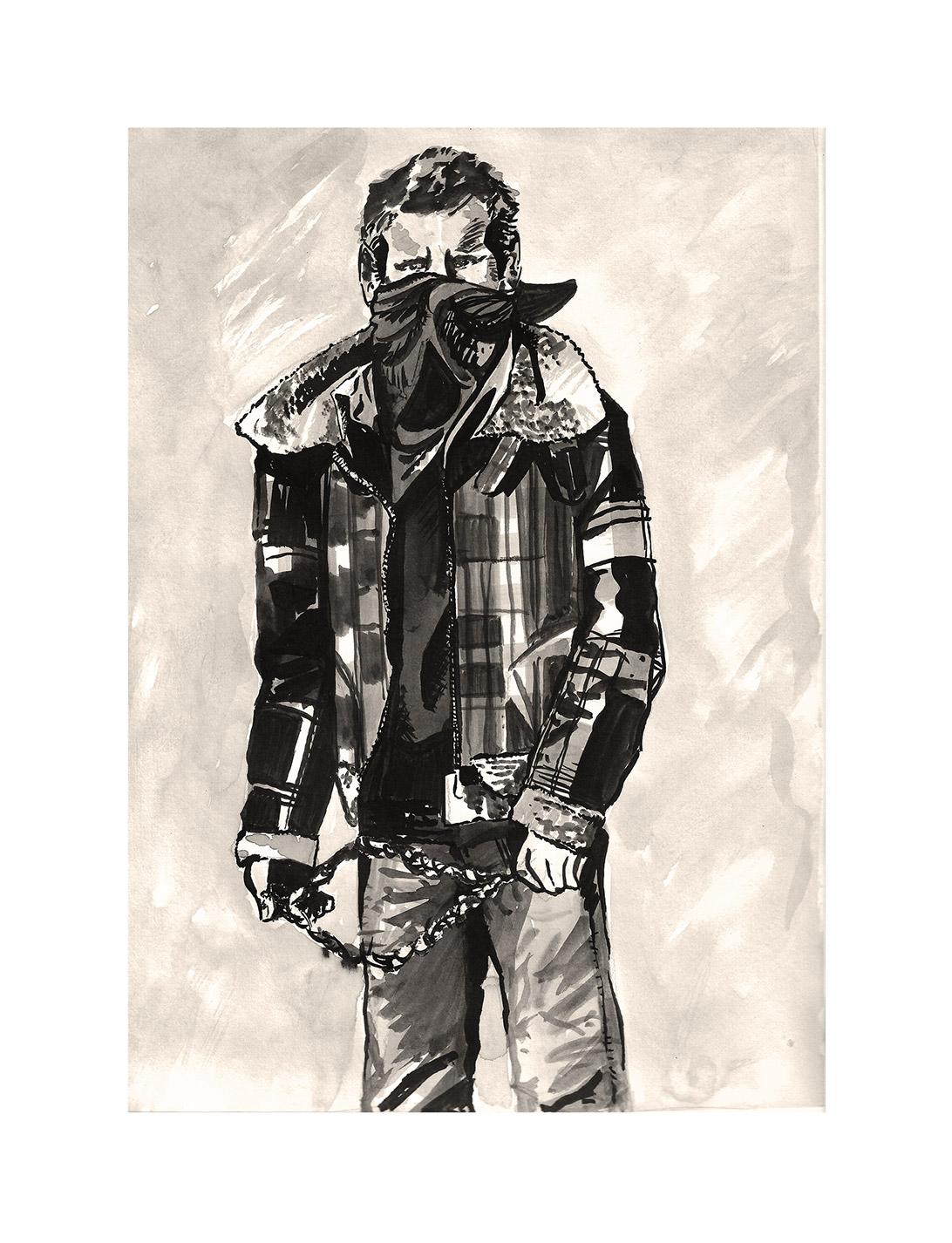 artwork of a masked boy holding a slingshot