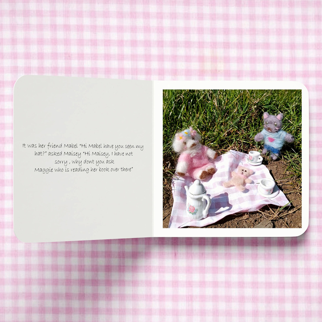 publication spread featuring a photograph of felt animal dolls having a picnic