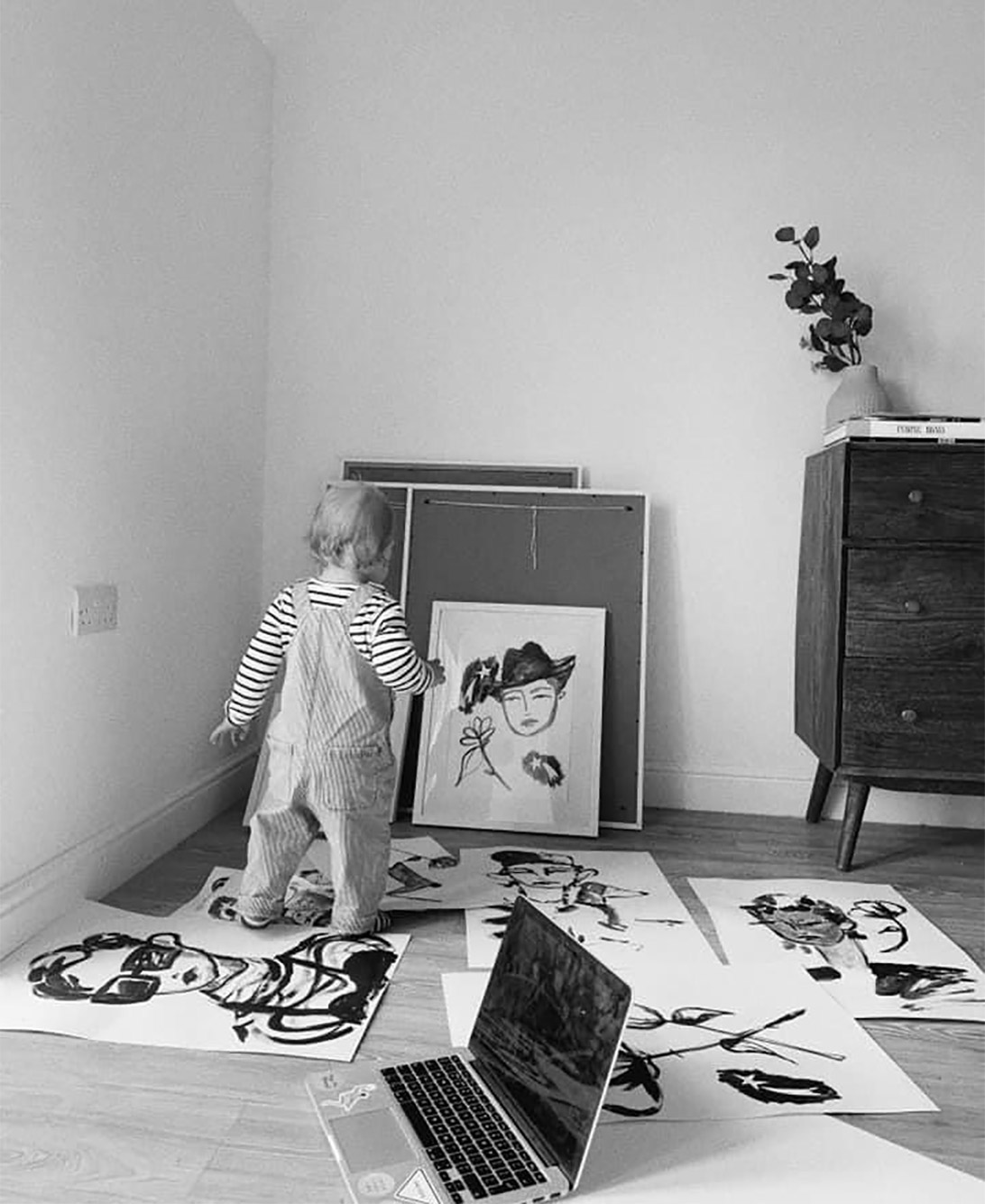 black and white photograph of toddler