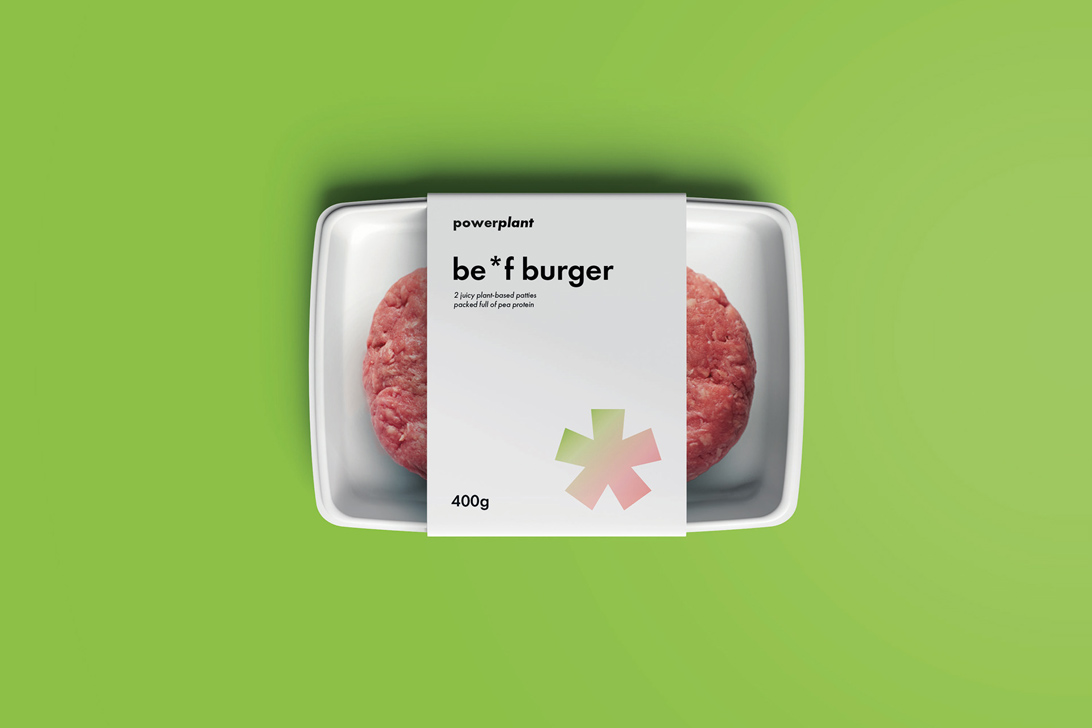 photo mock-up of brand packaging for vegan burgers