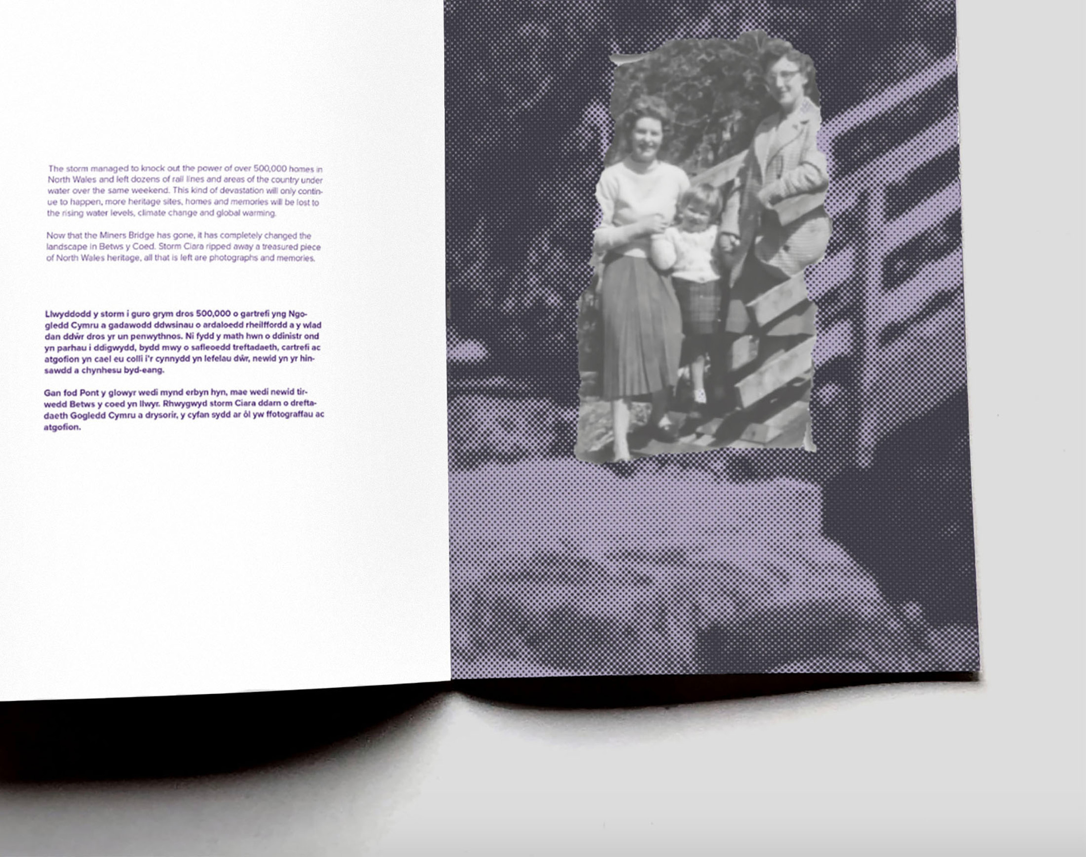photograph of publication spread featuring type and half-toned photo-montage
