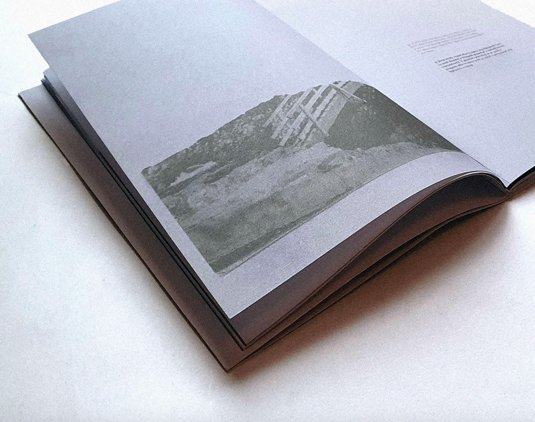 photograph of publication spread featuring type and image