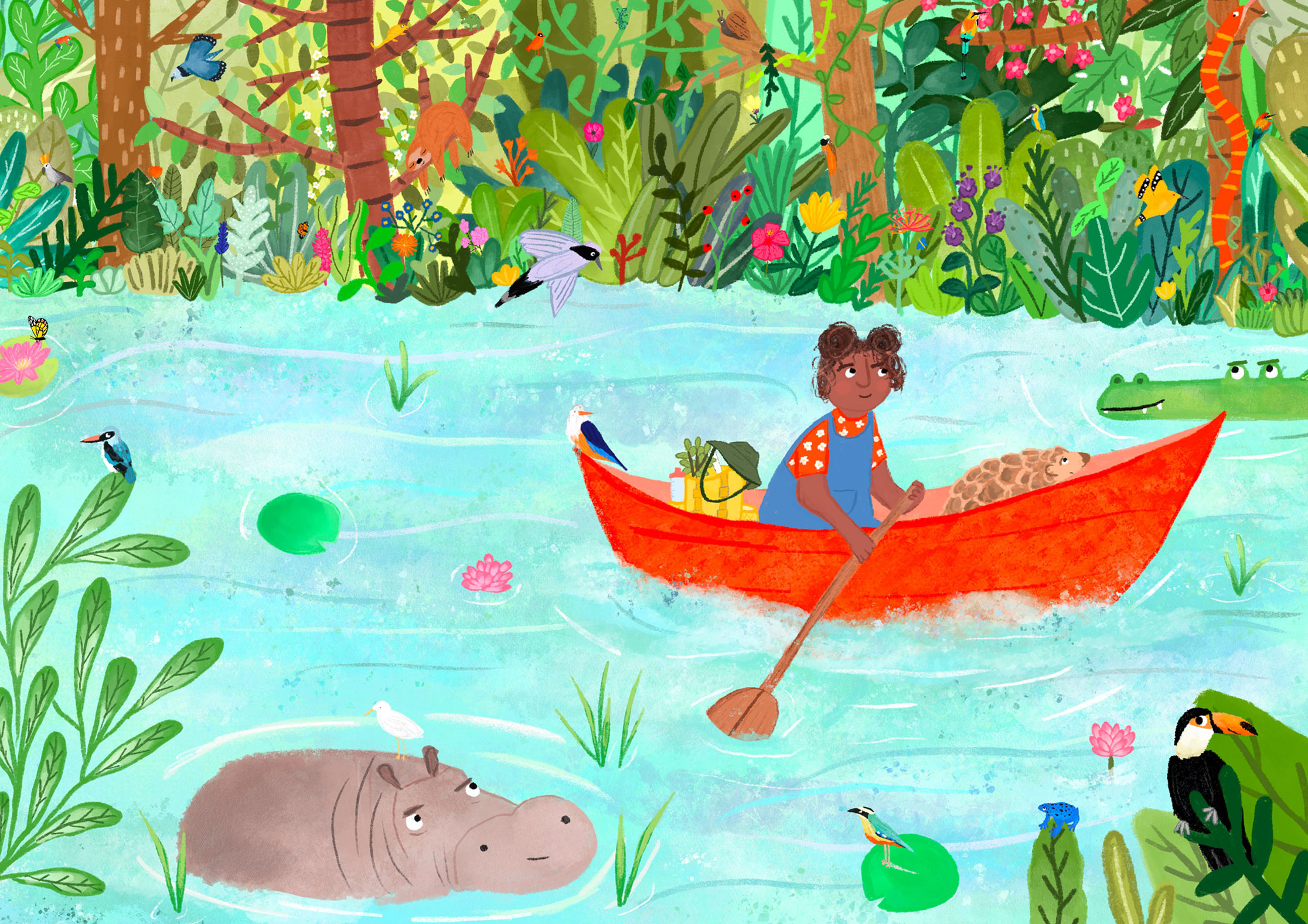 picture book illustration of a girl in a rowing boat