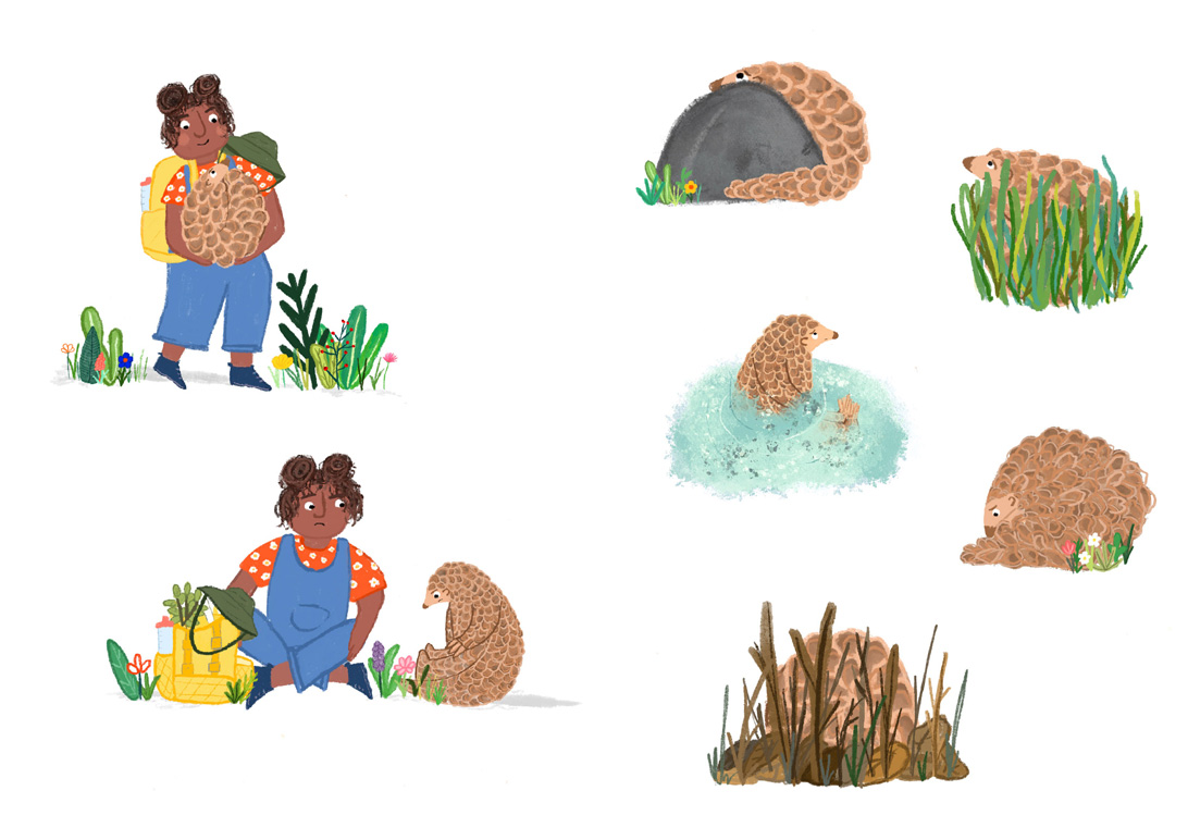 picture book illustration of a girl and and an animal friend