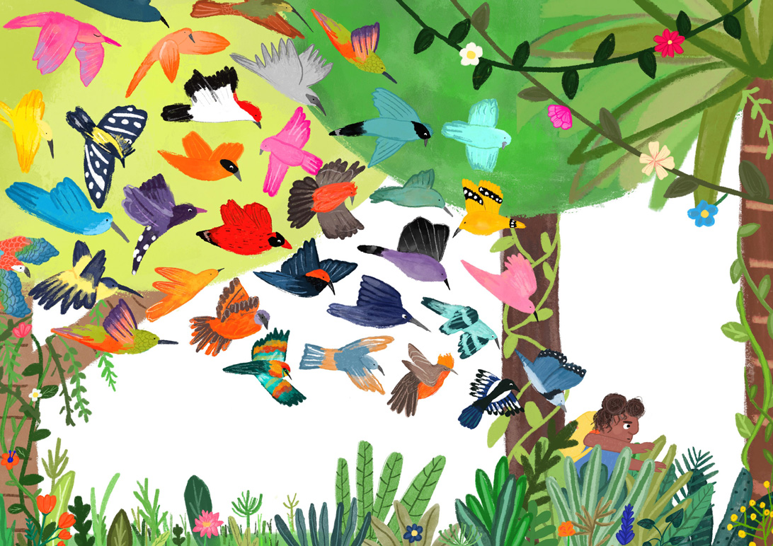 picture book illustration of a girl being followed by lot of wild colourful birds