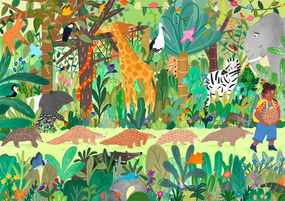 picture book illustration of a girl in a jungle scene with lots of animals