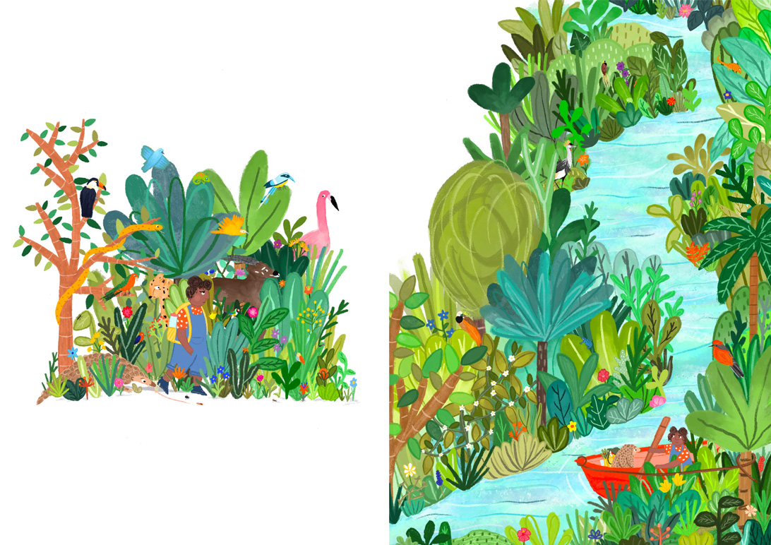picture book illustrations of a girl in a jungle scene and a river scene