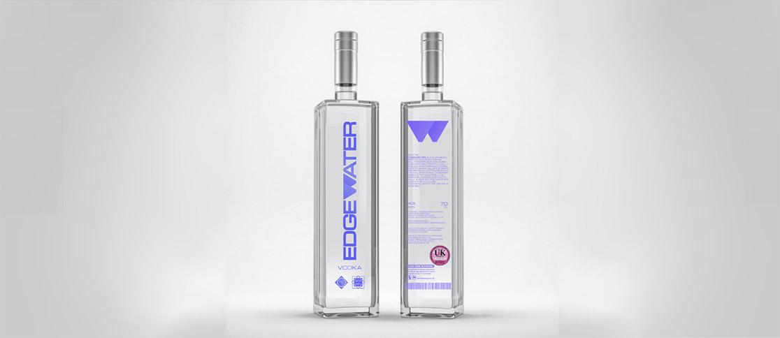 mock-up of vodka brand identity bottle and label