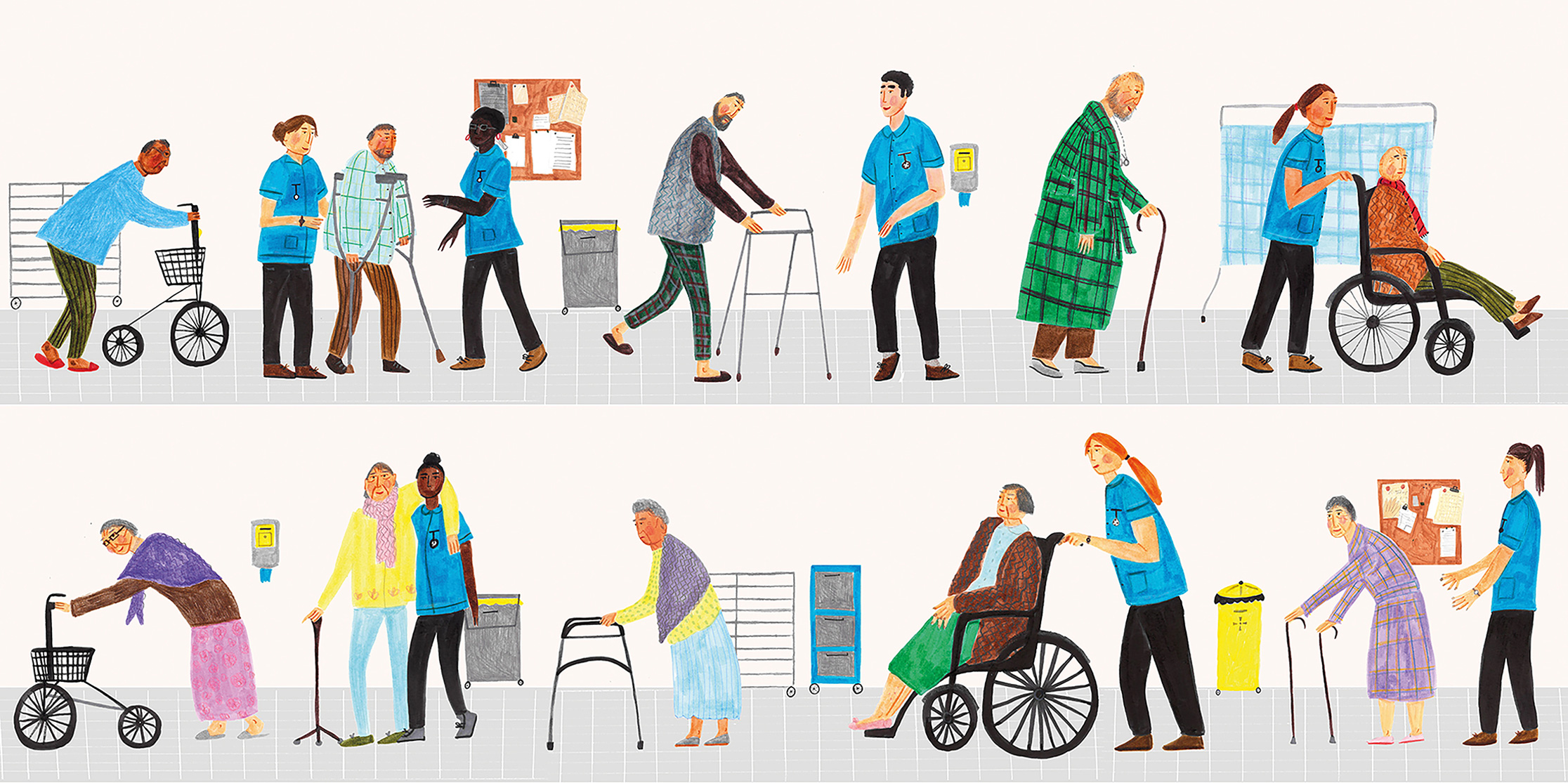 illustration of patients on an elderly care ward