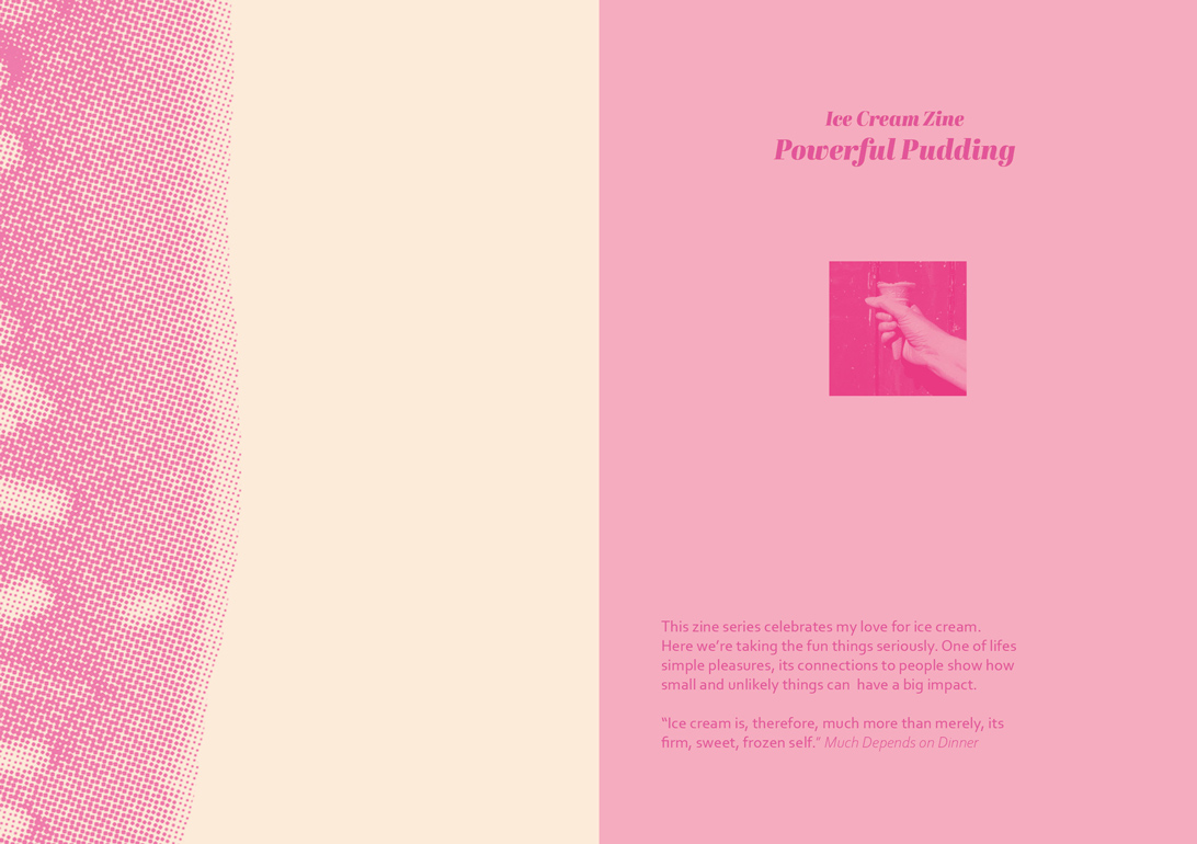 publication spread featuring duotoned type and image artwork