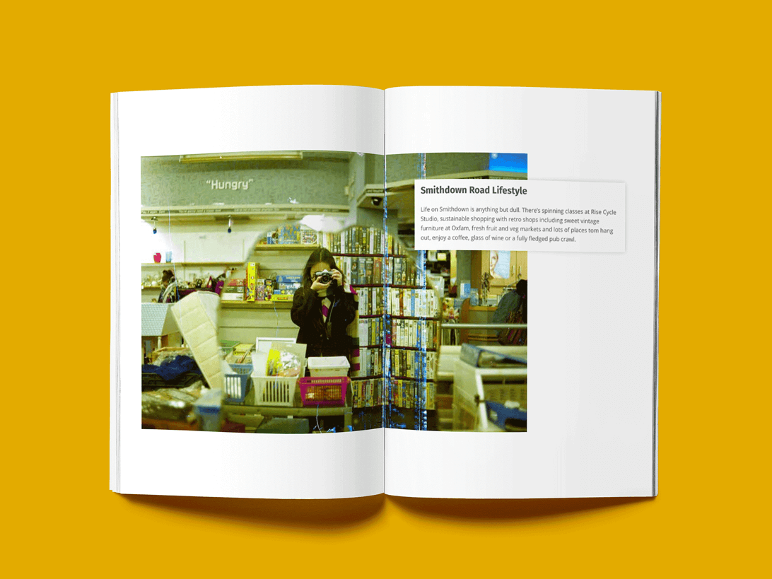 mock-up of publication spread featuring photos and social media graphics