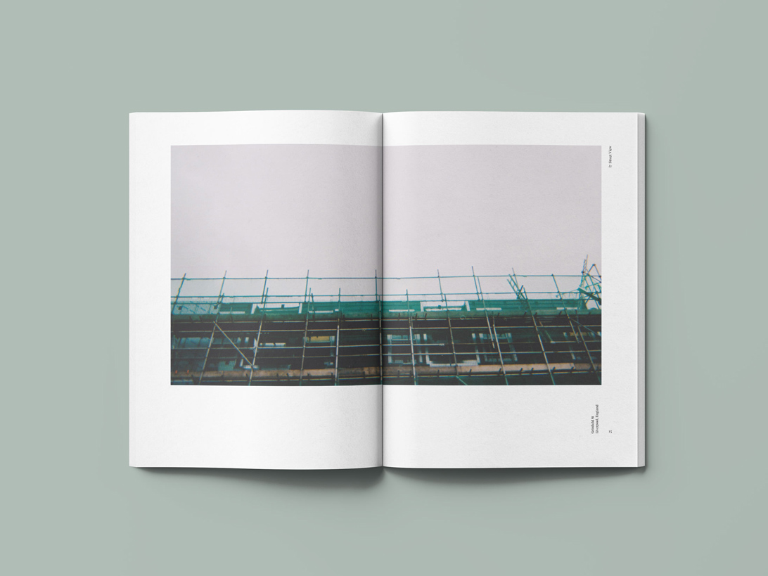 publication spread featuring a digital photograph