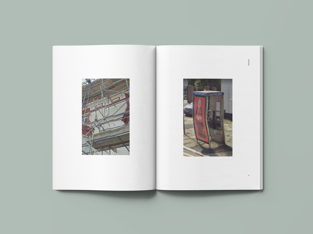 publication spread featuring images from Google maps street view