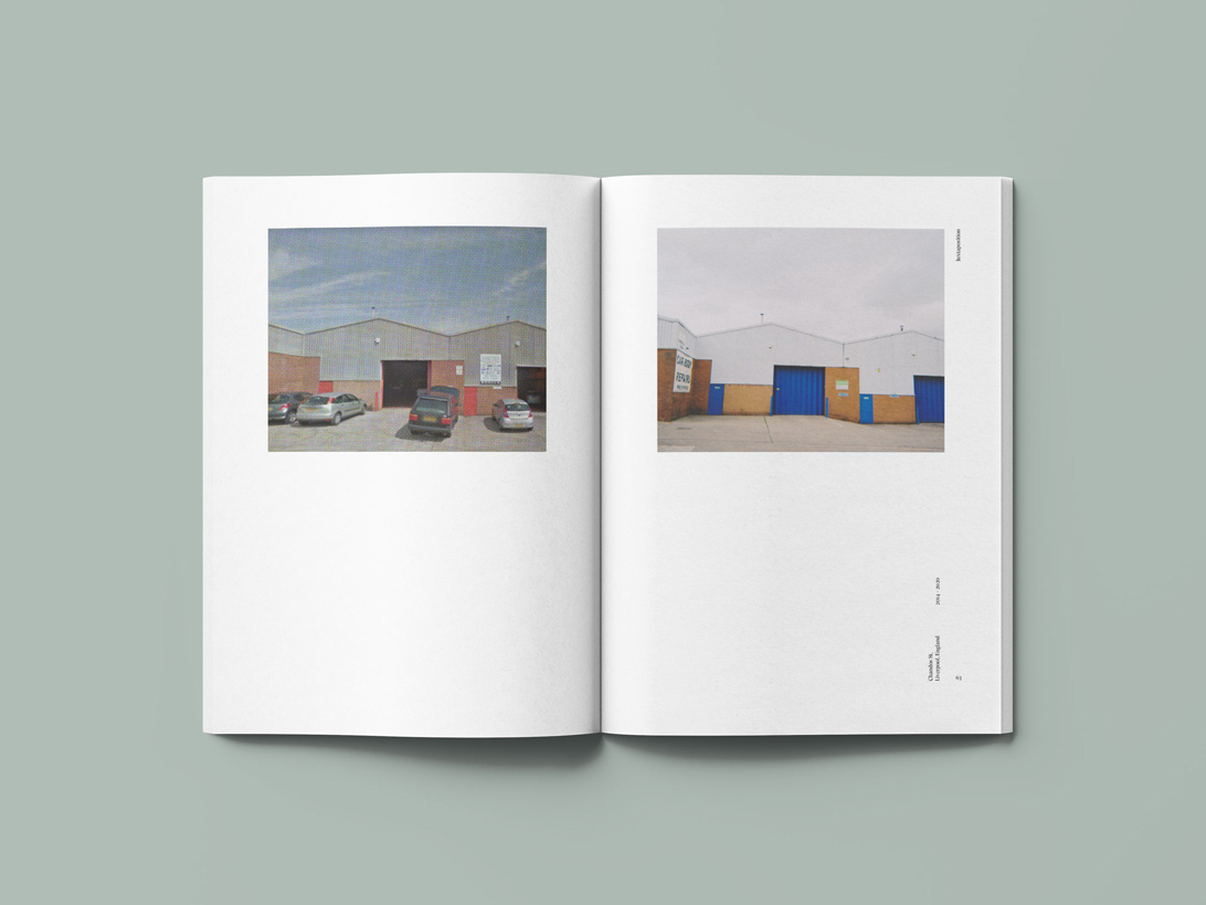 publication spread featuring image from Google maps street view and a digital photograph