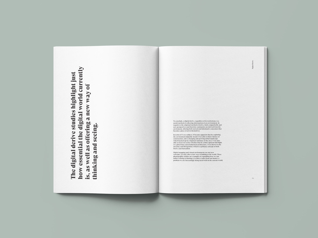 publication spread featuring type