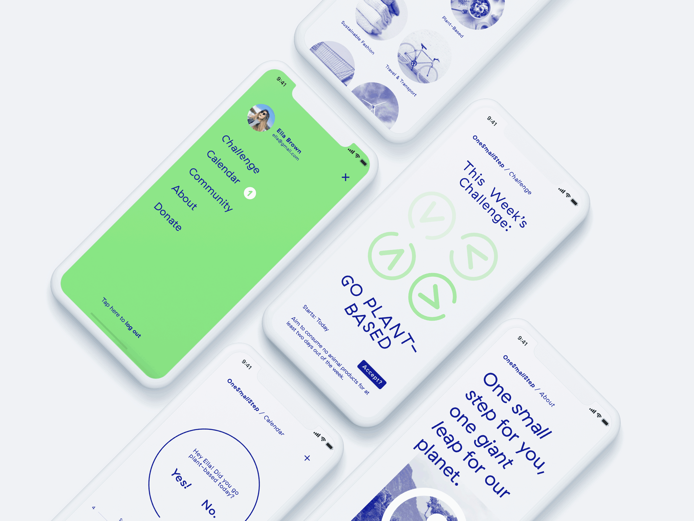 screen designs for the mobile app