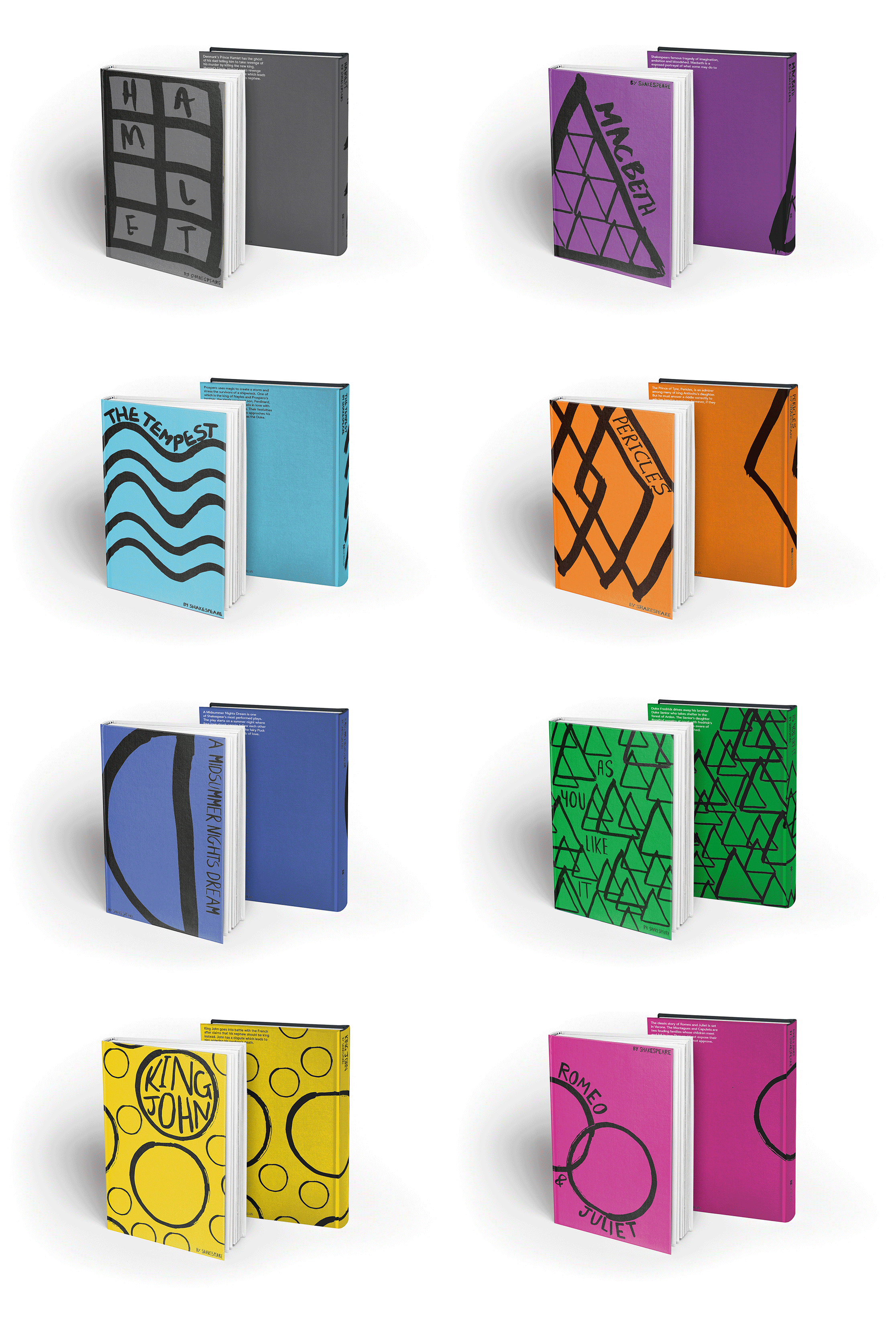 mock-up of Shakespeare book covers