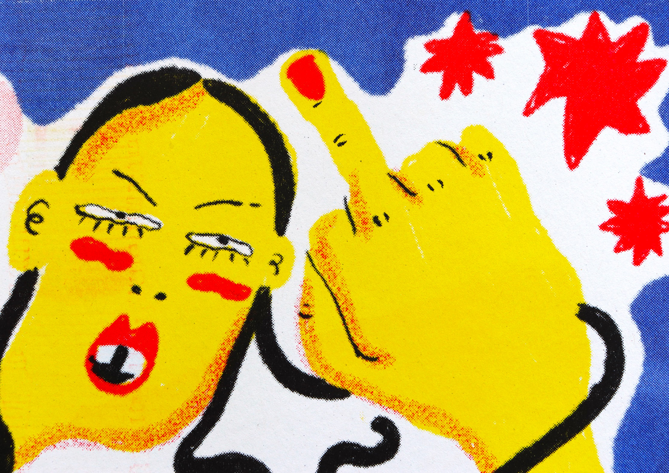 illustration of a punk giving the finger
