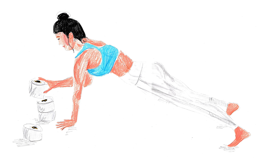 illustration of a yoga with toilet rolls