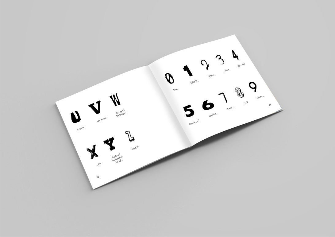 publication spread featuring typeface specimen pages