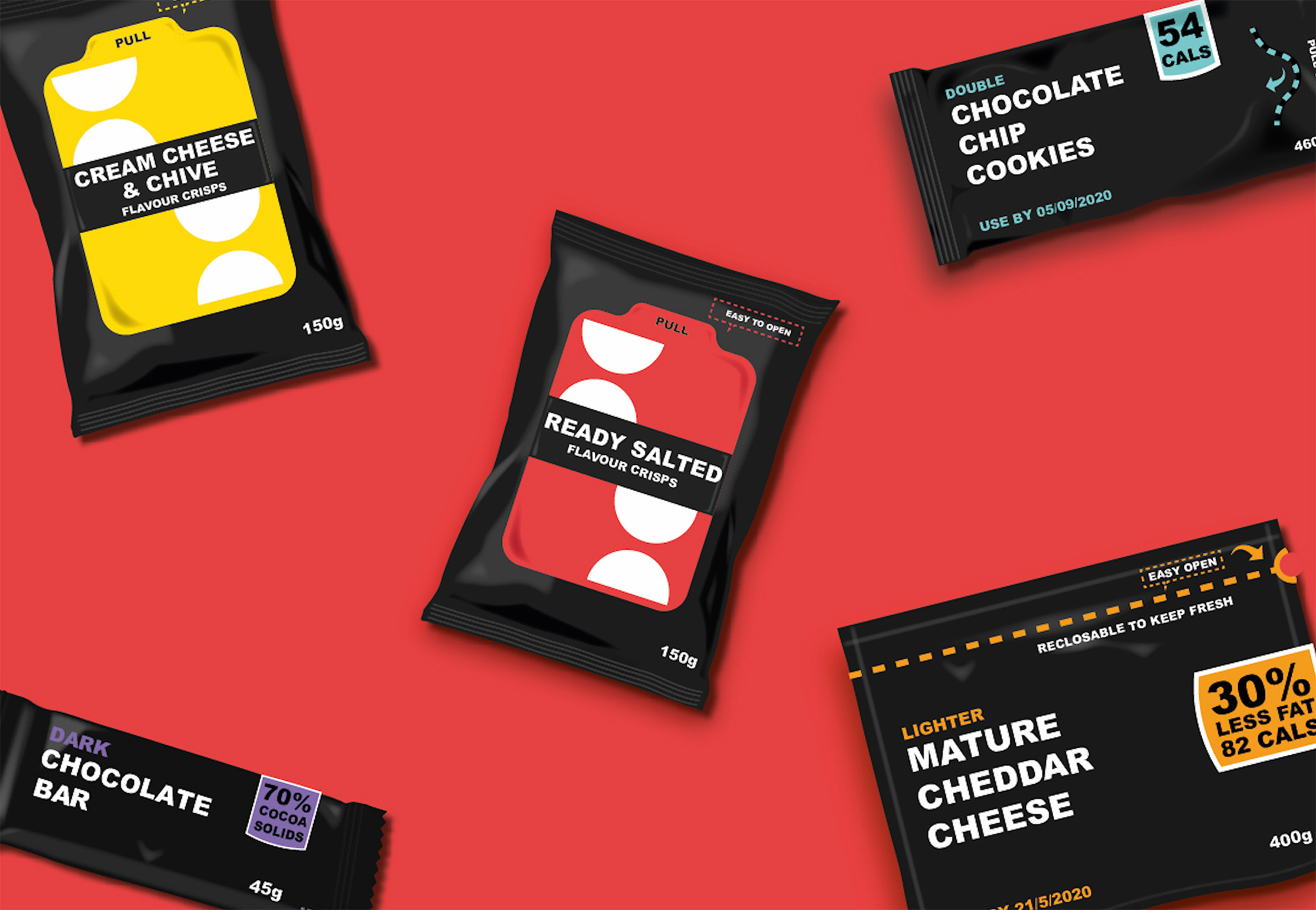 mock-up of designs for  crisps, cookies, cheese and chocolate bar packaging