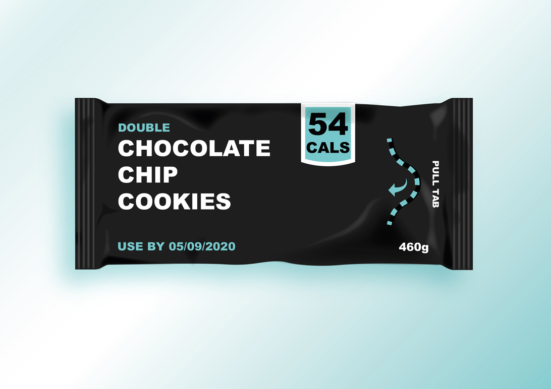 mock-up of design for packaging cookies
